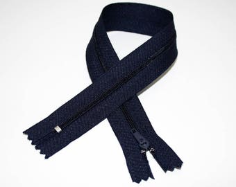Zip closure, 35 cm, dark blue, not separable
