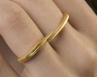 Double Finger Ring, Modern Ring, Adjustable ring, Minimal Ring, 925 Sterling Silver, Double finger ring, Easy to Wear,18K Gold Plated