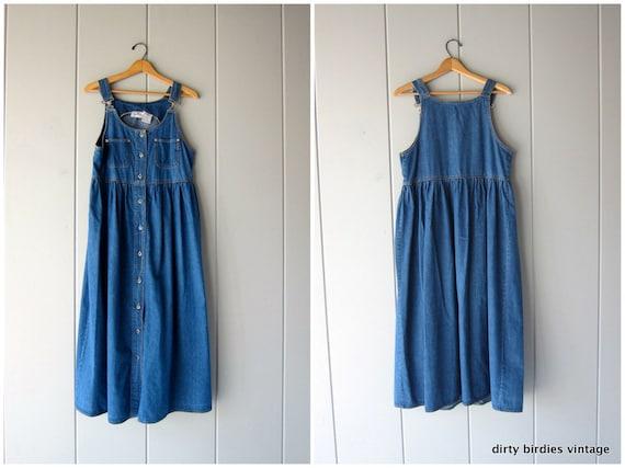 90s Denim Chore Dress Long Babydoll Market Sun Dress Button Up Boho Easy Summer Jean Bib Dress with Pockets Vintage Womens Medium