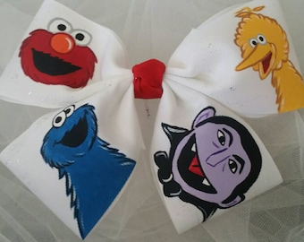 You Pick Your Favorites Boutique Handpainted Sesame St. Hairbow