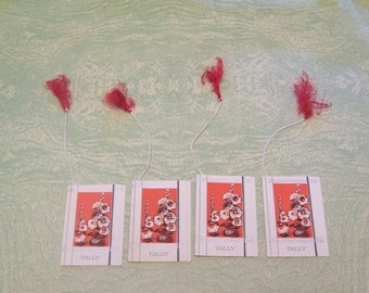 Four vintage poppy poppies flowers floral bridge tally tallies