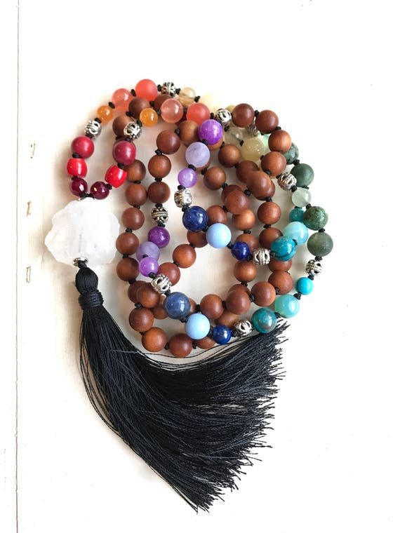 CHAKRA MALA BEADS - Sandalwood Mala Necklace - Seven Chakra Colors - 108 Bead Mala -Balance The Chakras - Hand Knotted - Mixed Stone Mala
