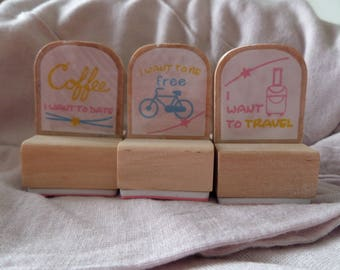 Set of three stamps i want wood