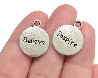 "20 Bulk, ""Inspire, Believe"" Message Charms 20x16x1.3mm  Hole, 2.5mm"