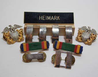 Military Pins Silver Captain Bars, Eagle And Anchor, Commendation Ribbon