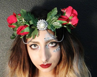 Floral Hairpiece, Queen of Hearts Crown, Red Rose Crown, Halloween costume, Queen Costume, Roses and Diamond Crown, Flower crown