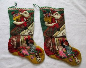 "2 Vintage Handmade Needlepoint Embroidered 18"" Santa & Kids Christmas Stocking"