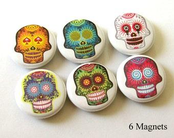 fridge magnets Funky Sugar Skulls Dia De Los Muertos Day of the Dead skeleton calavera holiday Mexican party favor pastel goth pin gift geek
