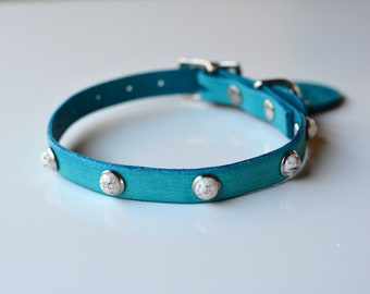 BELLE Leather I.D Collar, Pet Collar, Small Dog Or Cat  Collar, small pet collar, Custom Collar, Leather Cat or Small Dog Collar