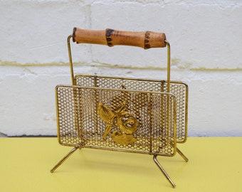 Vintage Letter Rack, Kitsch Rose Letter Rack, Brass Letter Rack with bamboo Handle, Mid Century Letter Rack, Atomic Brass Letter Rack