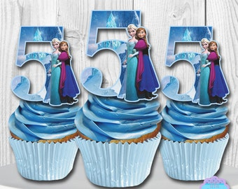 Disney Frozen Cupcake Toppers, Cupcake Picks INSTANT DOWNLOAD