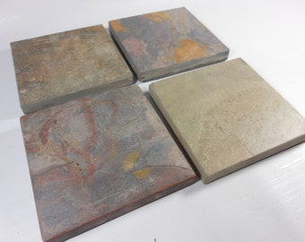NATURAL SLATE COASTERS - 8 Assorted Colors - Heavy, Absorbent, Work Great, Do Not Stick - Natural Stone Coasters for Drinks, Garden Decor