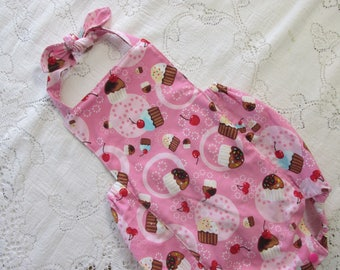 Pink Cupcakes Bubble Romper - Cupcake Birthday Party - Cherry - Cherries - Infant Toddler Child Sizes - Vintage-Style Sunsuit - Photo Prop