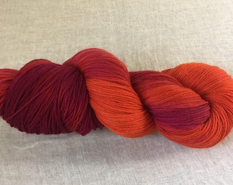 Red, Orange and Pink Hand Dyed 4ply Sock Wool/Nylon Yarn 400 Mtrs  100gms
