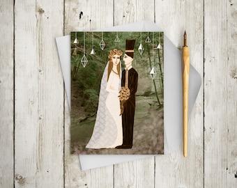 Forest Wedding Card - Woodland Wedding Card - Unique Wedding Card - Artistic Wedding Card