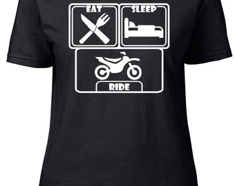 Eat. Sleep. Ride. Ladies fitted t-shirt.