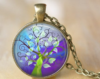TREE OF LIFE  Necklace Glass Pendant Tree of Life Art Glass Pendant Necklace Jewerly Your Choice of Finish