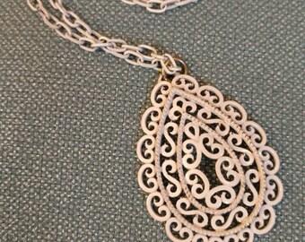 TRIFARI White Enamel Pendant, Filigree, Tear Drop Shape, Necklace, Trifari, Art Deco, White Enamel Pendant and Chain