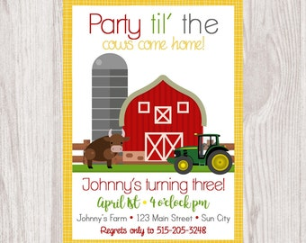 Old Macdonald Had a Farm EIEIO Barn First Birthday Party Invitation - Party til the cows come home Barn Country Party - Digital JPEG