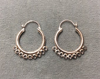 Chandelier hoops etsy sterling silver 13mm chandelier hoop with 9 rings earring two pieces aloadofball Choice Image