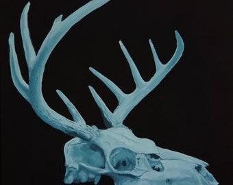 Blue Deer Skull bones antlers wildlife skeleton still life original oil painting by Sarah Lynch 12x12