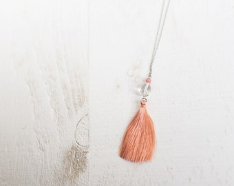 Clear Glass and Pale Pink Bead and Tassel Necklace ||  Glass Charm with Silky Tassel || Layering Necklaces || Canadian Seller