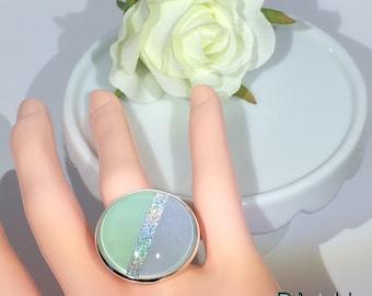 """Ring """"Diagonal"""", sea green and lilac color band """"Rainbow"""""""
