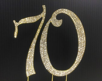 Rhinestone Gold  NUMBER (70) Cake Topper 70th  Birthday Parties FREE SHIPPING