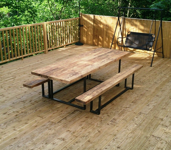 Unique Outdoor Tables: Reclaimed Industrial Chic Custom Outdoor Garden Table Bar