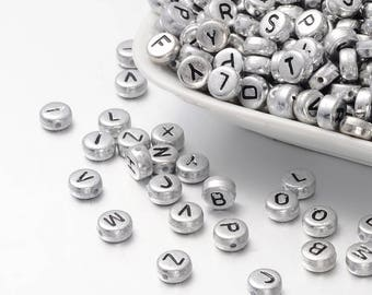 Letter Beads Alphabet Beads Silver Letter Beads Silver Alphabet Beads Wholesale Beads Bulk Beads 50 pieces 7mm