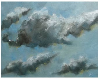 Picture atmosphere clouds sky blue oil painting landscape painting oil on canvas single piece small 25, 4x20, 3
