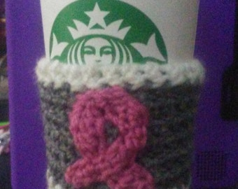 think pink to go coffee cup cozy