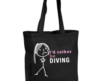 Ladies Shopping Bag I'd Rather Be Diving Reusable Black Shopper Funny