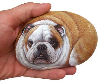 Irresistible Bulldog Painted on A Sea Stone | Meticulously Detailed Rock Art by Roberto Rizzo |  Hand Painted Pets Dog Fine Art