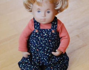 Floral Babycord Dungarees and T-Shirt for Sasha Baby, Toddler or Wichtel 32cm Dolls