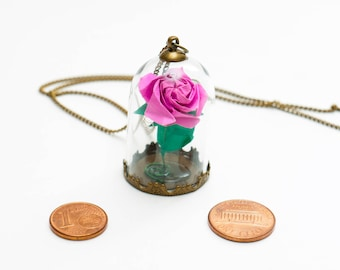 Eternal rose pink origami pendant under glass dome
