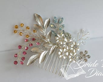 Wedding hair jewelry, transparent pearls and rhinestones bridal hair comb, silvery hair comb