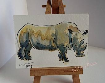 ACEO Rhino Watercolor Painting OOAK Animals Art
