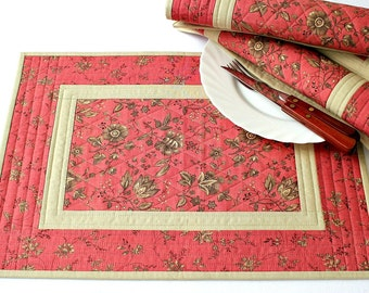 Summer Placemats Quilted, Coral Pink Tan Table Mats, Table Quilt, Fabric Placemats, Flowers, Set of 4 Place Mats
