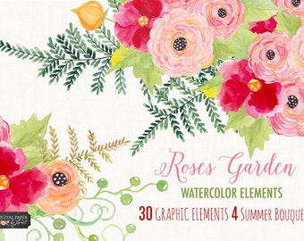 Roses Garden Collection - Floral Watercolor Elements - PNG file