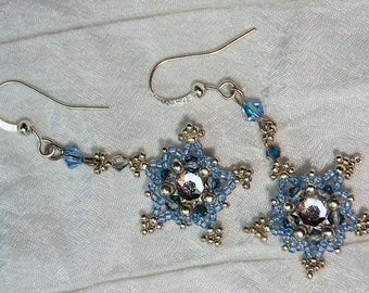 Crystal Star Earrings in Ice Blue and Silver