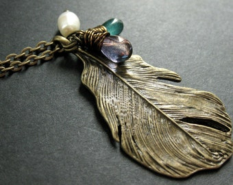 Peacock Feather Necklace. Bronze Charm Necklace with Purple and Teal Teardrops and Fresh Water Pearl. Handmade Jewelry.