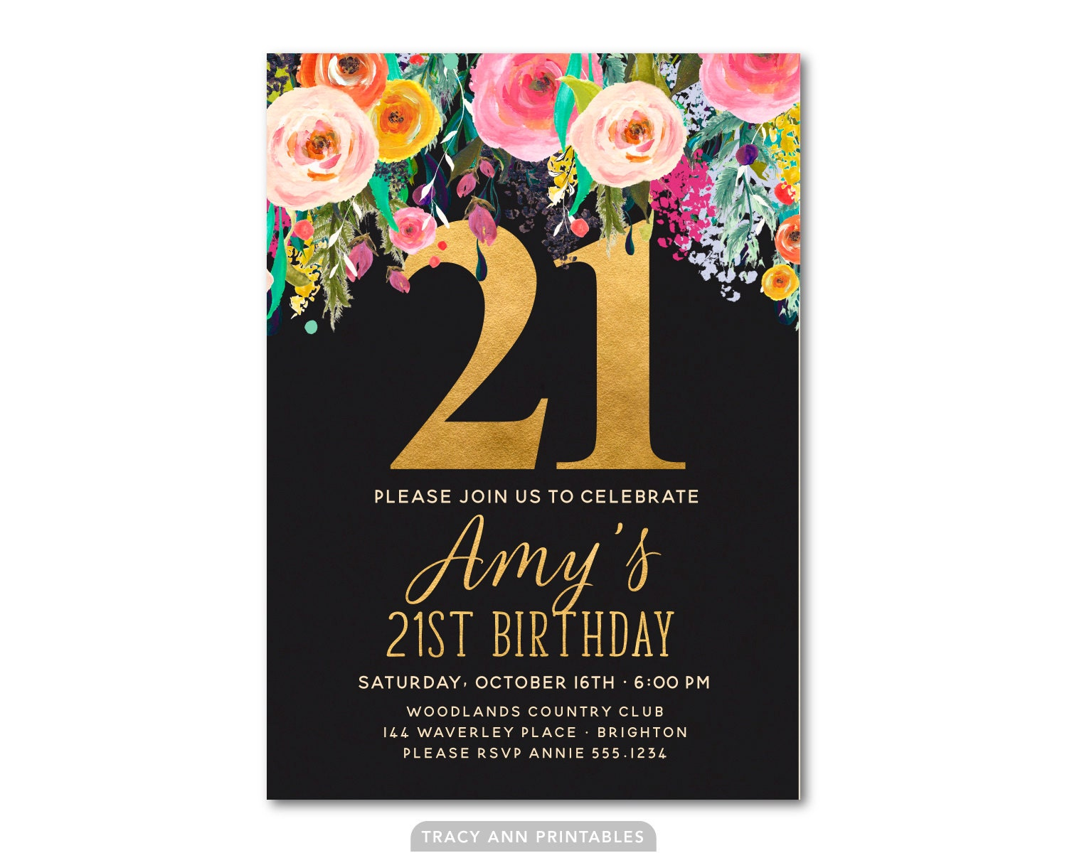 21st Birthday Invitation Floral 21st Birthday Invite 21st