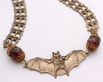 Vampire Bat Necklace, Goth Necklace, Flying Bat Necklace, Bat Jewelry, Unique Statement Necklace, Vampire Bat Choker, Red Necklace, SRAJD