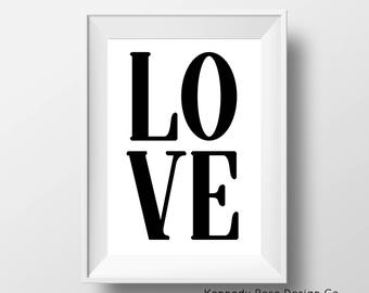 Black and White Love Printable, Instant Download Print, Love Wall Decor, Love Wall Art