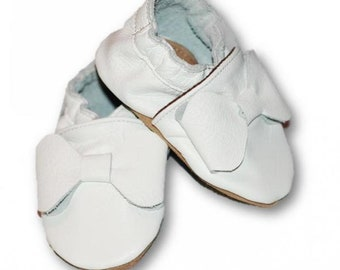 BOWS (size 16-44) soft leather baby shoes