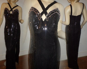 Vintage Sequin Gown Couture Oleg Cassini Black Tie 1970's Fully Embellished Black Sequins Silver Gold Bead Hollywood Criss Cross Straps