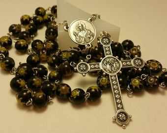 Handmade Catholic Rosary with Black and Gold Millefiori Glass Beads