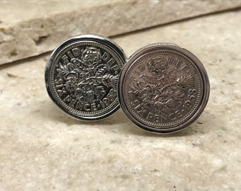 1958 lucky sixpence cufflinks - 60th birthday gift - silver
