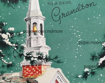 Vintage Christmas Card, Grandson, Glittered, Mid century, NOS